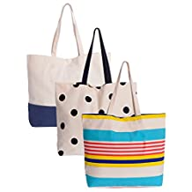 Planet E Canvas Fashion Tote Bags Pack of 3