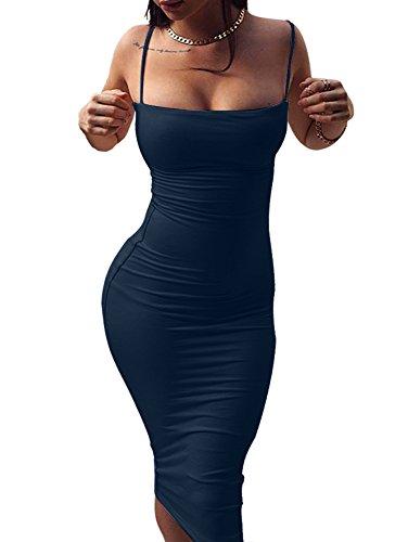 GOBLES Women's Sexy Spaghetti Strap Sleeveless Bodycon Midi Club Dress Dark Blue (Tight Sexy Dress Blue)