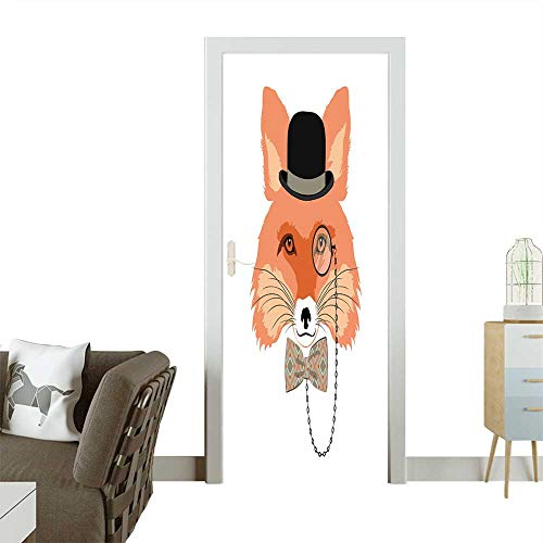 Homesonne Door Decals Animal Vector Portrait,Fox in Bowler hat and Monocle,Vintage Style Portrait Pressure Resistant W35.4 x H78.7 INCH