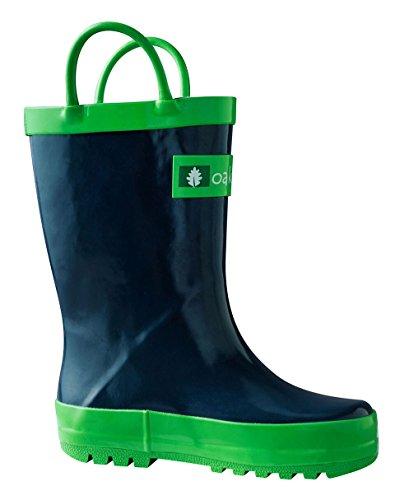 Oakiwear Children's Waterproof Rubber Rain Boots with Easy-On Handles, 12 Navy Blue by Oakiwear (Image #1)