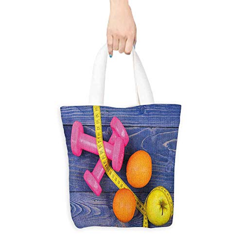 "Canvas shopping bag,Fitness Womens Dumbbells Apples Oranges Measuring Tape Eat Clean Live Active Theme Objects,Organic Cotton Washable & Eco-friendly Bags,16.5""x18"", Multicolor"