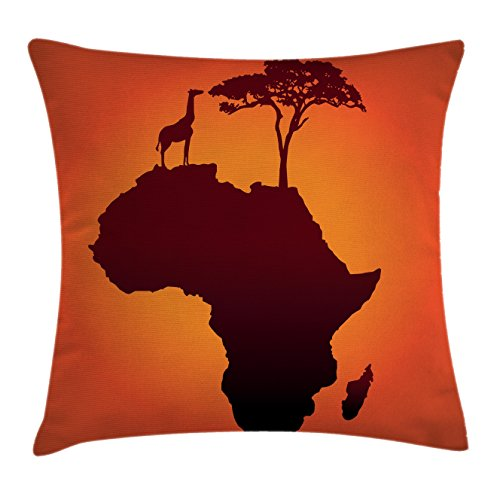 Ambesonne African Decor Throw Pillow Cushion Cover, Safari Map with Continent Giraffe and Tree Silhouette Savannah Wild Design, Decorative Square Accent Pillow Case, 16 X 16 Inches, Orange Brown