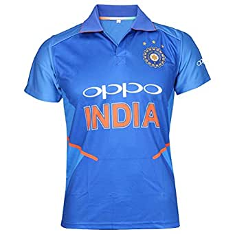 Melcom Dri Fit Indian Cricket Jersey 2019 for Cricket Fans (Small) Blue