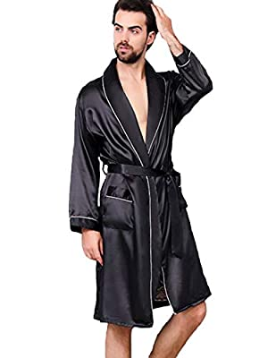 Haseil Men's Satin Kimono Robe Spring Summer Shawl Collar Sleepwear Classic Silk Bathrobes