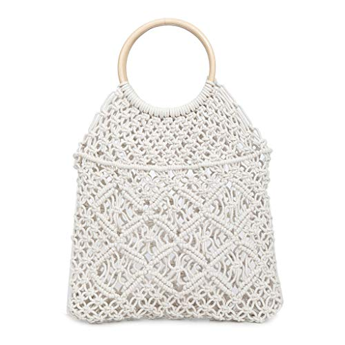 (Pengy Woman Color Block Hollow Out Pattern Stripes Woven Synthetic Straw Tote Lady Shoulder Handbag)