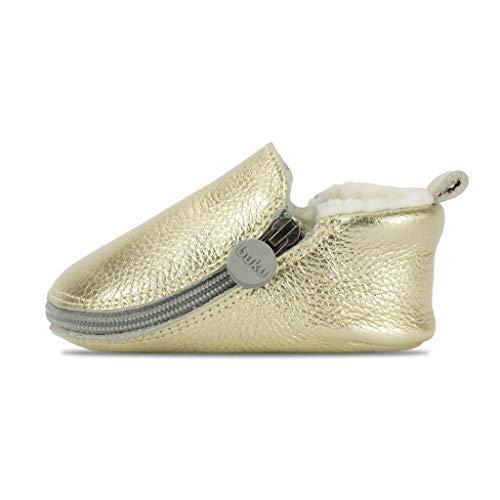 Buku Babies Genuine Leather Baby Shoes Girls & Boys Walkers Crib Shoes Moccasins Booties (1 (0-6M), Platinum)