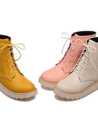Mujer Semicuero Zapatos us10 Trabajo Cn34 Cn43 Casual Eu35 5 Y De Beige Oficina Punta Redonda Eu42 Plataforma Uk8 Uk3 Botas Anfibias Uk us5 amarillo Xzz Pink Vestido 5 qOEvdawq