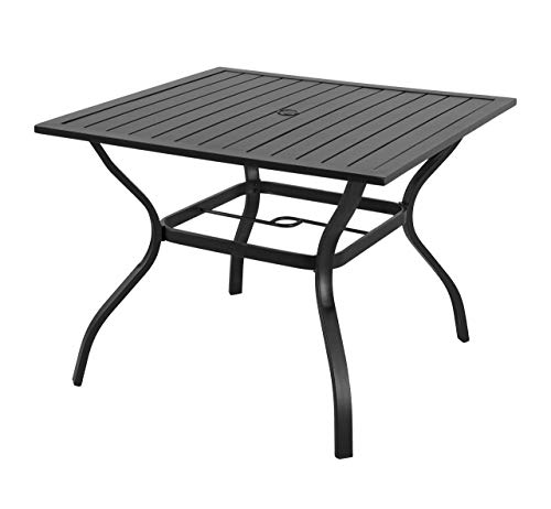 EMERIT Outdoor Patio Bistro Metal Dining Table with Umbrella Hole 37″x37″,Black (Dining Table) (Renewed)