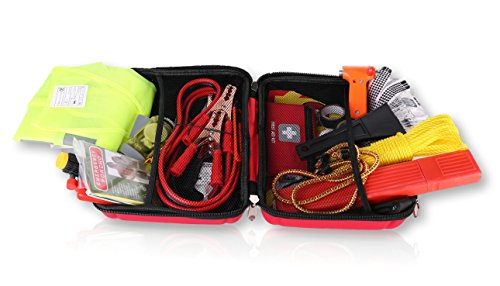 Thrive Roadside Assistance Auto Emergency Kit First Aid Kit  Case Contains Jumper Cables Tools Reflective Safety Triangle And More Ideal Winter Accessory For Your Car Truck Camper