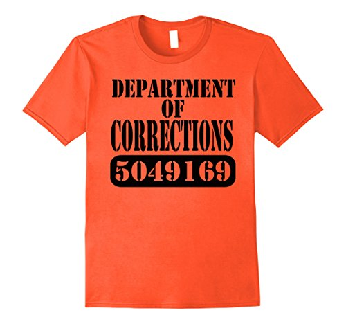 Prisoner Halloween Costume Ideas (Mens Department of Corrections Prisoner Halloween Costume T-shirt XL Orange)