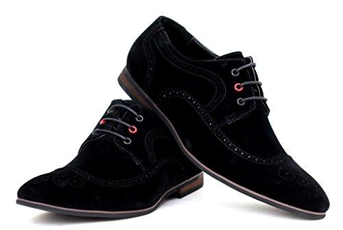 Hombre Vestido Zapatos De Boda Elegante Oficina De Vestir Con Cordones Trabajo Talla UK Negro/ante