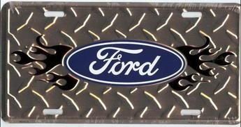 America sports FORD Flame on Diamond License Plate