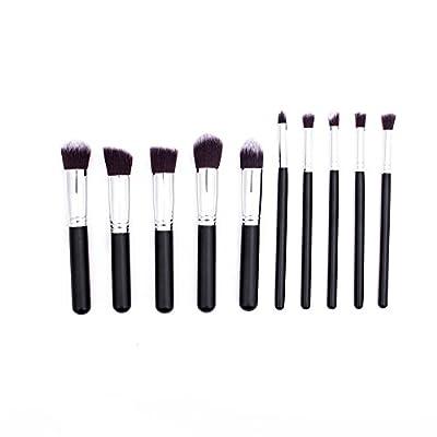 10PCS Professional Premium Makeup Brush Set Black Silver Kit With Case