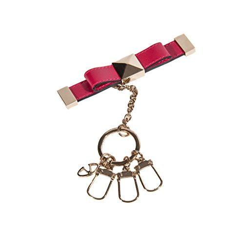 Valentino Woman Cranberry Red Leather Key Ring by Valentino