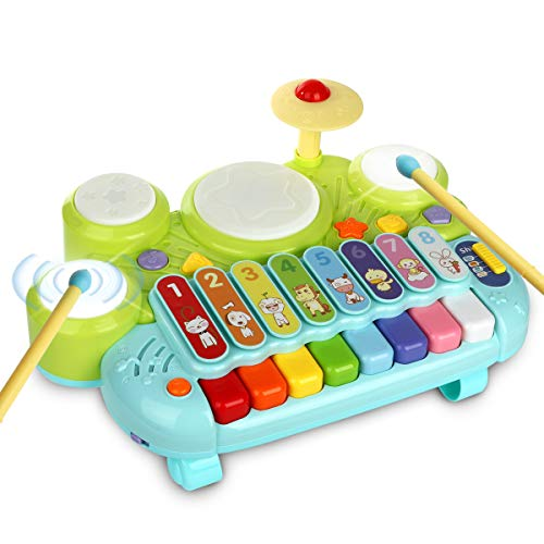 3 in 1 Toddler Drum Set Piano Keyboard Xylophone Toys Montessori Musical Instrument Learning Developmental Light Up Toys…