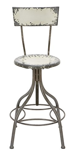 Deco 79 Metal Bar Chair, 41 by 18-Inch, Industrial Grey with touch of Green