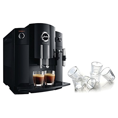Jura Piano Black Impressa C60 Combination Espresso Machine with 6 Bodum Canteen Double Wall Espresso Glasses