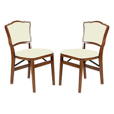 Stakmore French Padded Back Wood Folding Chairs in Fruitwood (Set of 2) by Stakmore