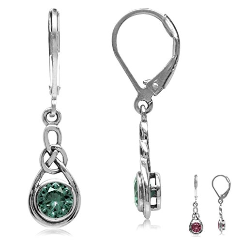 Simulated Alexandrite 925 Sterling Silver Celtic Knot Leverback Dangle -