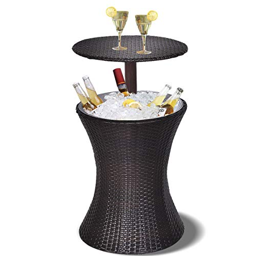 Giantex Outdoor Cool Bar Rattan Style Patio Cool Bar Table Adjustable Height...