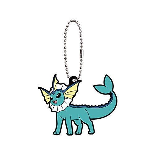 Bandai Pokemon Eevee Special Vaporeon Character Gacha Capsule Rubber Key Chain Mascot Collection Anime Art Ver.2