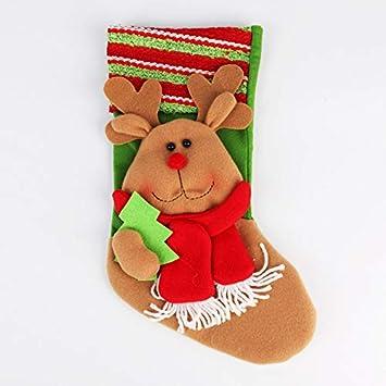 Top Shishang 35 * 20 cm 1pcs Personalizado de Lujo Bordado a Mano Calcetines de Navidad 3D Papá Noel/Renos, Rojo, Alce: Amazon.es: Hogar