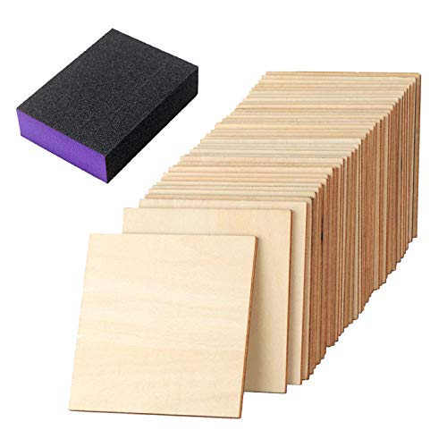 Unfinished Blank Wood Pieces,50 pcs 4 Inch Unfinished Round Corner Square Wooden Cutouts with Sanding Sponge for Painting, Writing, DIY Arts Crafts Project, Burning Coasters,Decoration