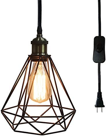 Riomasee Industrial Plug in Pendant Lighting 14.27 Ft Hanging Light Cord with On Off Switch,Vintage Wire Cage Black Metal Hanging Lamp