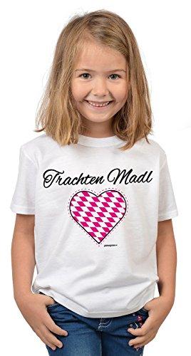 Kinder T-Shirt, Mädchenshirt mit bayerischen Spruch - Trachten Madl mit Herz! Perfekt fürs Oktoberfest und Volksfest!