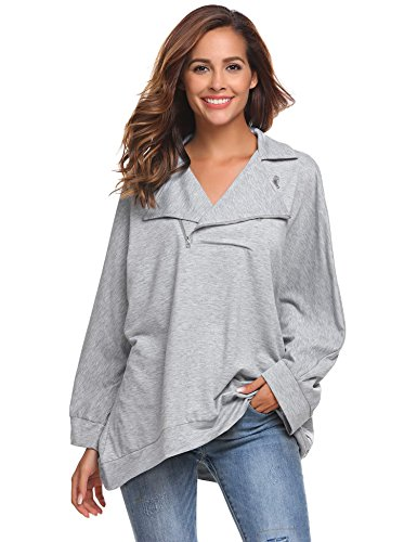 Zeagoo Women Casual Solid Top Unisex Sweatshirts Pullovers Turn-down Collar Sweartshirt Light Grey S by Zeagoo