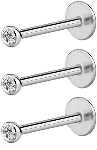 - Forbidden Body Jewelry 3-Pack: 16G 10mm Surgical Steel Internally Threaded Micro CZ Gem Tragus/Helix/Labret Stud with 2mm Top