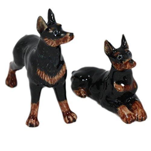 (2 Doberman Dog Set Ceramic Statue Pottery Miniature Animal Figurine (2