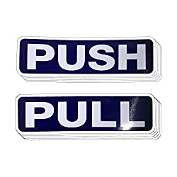 Push Pull Door Vertical Sign Set Sticker - Outdoor Indoor Self Adhesive (5 Pairs)