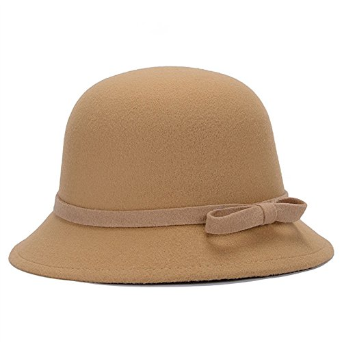 Magik Women Lady Vintage Wool Round Fedora Bow Cloche Derb Felt Bowler Cap Hat (Camel) Women Bowlers