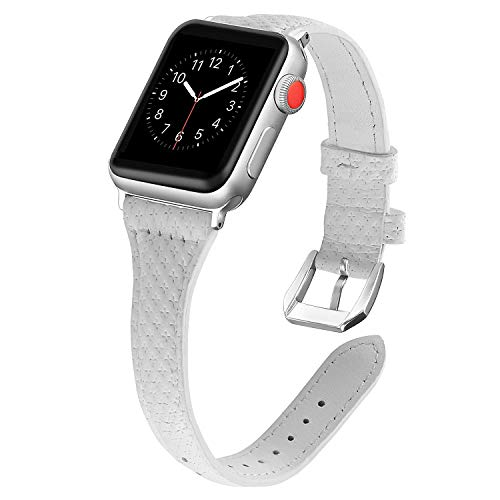 NO1seller Top Bands Compatible Apple Watch 38mm 42mm, Slim Genuine Leather Band Steel Clasp Replacement Wristband Apple Watch Series 4 40mm 44mm, 3/2/1,Sport,Nike+,Edition