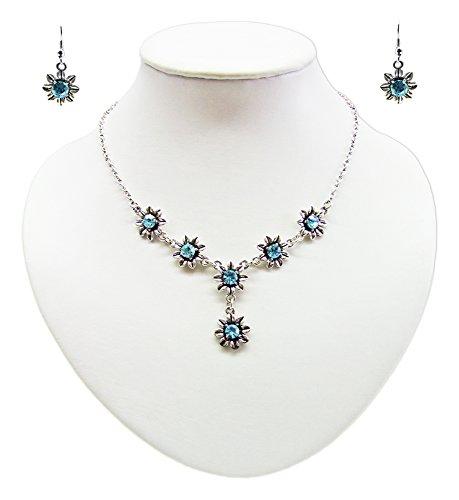 Blumen Collier mit Ohrhängern Aquamarine - Zauberhafte Schmuck Sets bestehend aus Halskette und Ohrringen