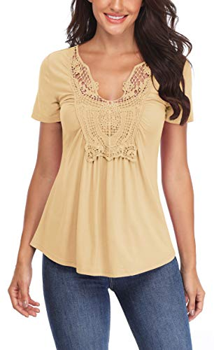 s for Women Ruched Front Deep V Neck Tie Short Sleeves Dance Peplum Tops Slimming T Shirts Cute Blouse (Light Apricot, XS/US 2) ()