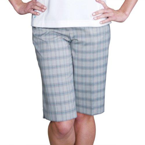 Monterey Club Ladies Stretchable Plaid Bermuda Shorts #2816 (Light Gray/Aquamarine, Size:8)