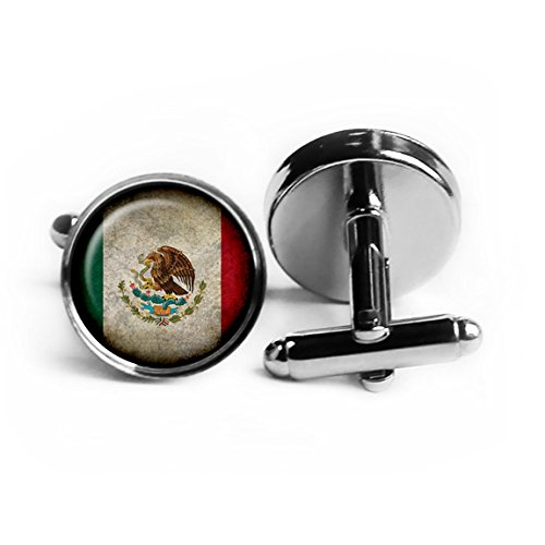 Mexico Mexican Flag Rhodium Plated Silver Cufflinks