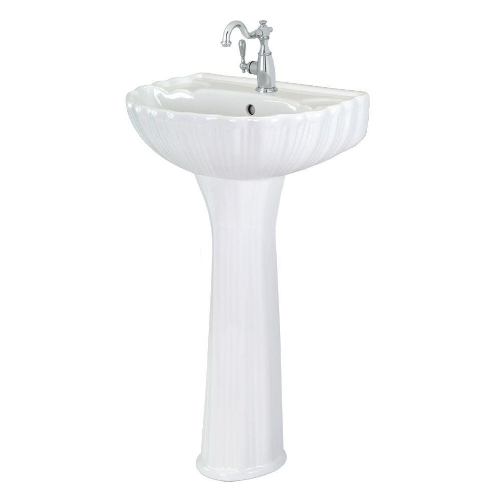 50%OFF Foremost FL-08A-W Brielle Pedestal Sink Combo in White
