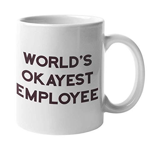 Funny Coffee Mug by Find Funny Gift Ideas | The Office Merchandise - Worlds Okayest Employee | Dunder Mifflin Going Away Gifts for Coworker - The Office Mug, Best Boss Mug, Worlds Greatest Boss Mugs (Ideas Yankee Swap 15 Gift)