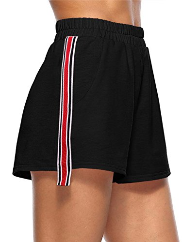 JEERISE Women's Stripe Yoga Sports Summer Elastic Waist Casual Short Beach Pants