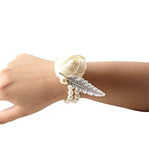USIX 4pc Pack-Handmade Satin Rose Wrist Corsage With Elastic Pearl Wristband for Girl Bridesmaid Wedding Wrist Corsage Party Prom Flower Corsage Hand Flower (Ivory) 80