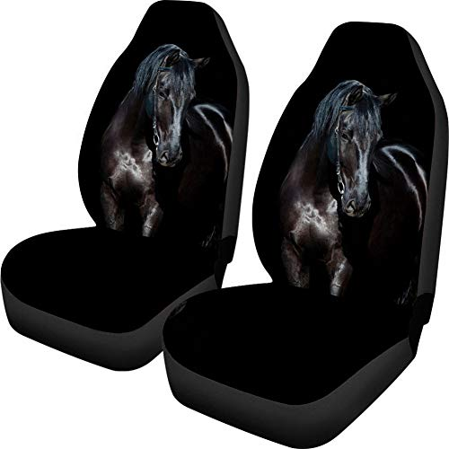 Upetstory Car Seat Covers Protector Softness Cars Vehicle Seat Protector Set of 2 Compatible with Most Car Cool Black Horse Design
