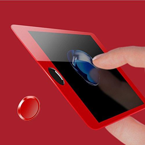 Distinct® Rosso Impronte Digitali di Identificazione Home Pulsante Protector e Completa Copertura Fibra di Carbonio Proteggi Schermo per iPhone 7