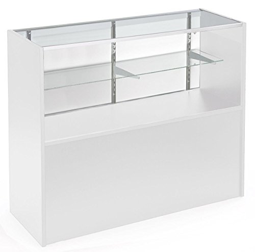 Displays2go 4' Store Counter with Glass Shelves, Aluminum, Tempered Glass, Laminated Particle Board - White Finish (MRCHV4WHKD) (Retail Showcase)