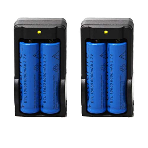 18650 Battery and Charger - 4 Pack 6000mAh BRC 3.7v 18650 Rechargeable Li-ion Battery & 2 Pack Battery Charger,Rechargeable Batteries & Portable Charger
