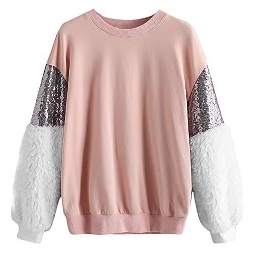 Vovotrade Moda Paillettes O Primavera Rosa Peluche Pullover Casual Top collo Donna Manica Lunga Cuciture Felpa Camicetta kXZPOiuT