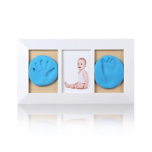 Baby Keepsake Frame,mingkids Baby Handprint And Footprint Kit,blue Clay For Baby Boy Gift,stratified