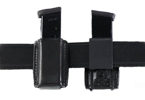 Galco QMC Quick Magazine Carrier for .45, 10mm Staggered Metal and Polymer Magazines para, H&K, Springfield, S&W (Black, Ambi)